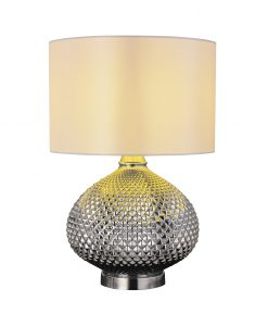 Zula Table Lamp Chrome with White Fabric Shade