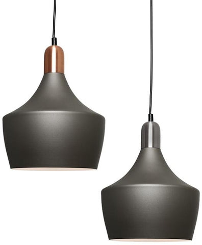 Bevo 1lt Metal Dome Pendant Light Charcoal Grey
