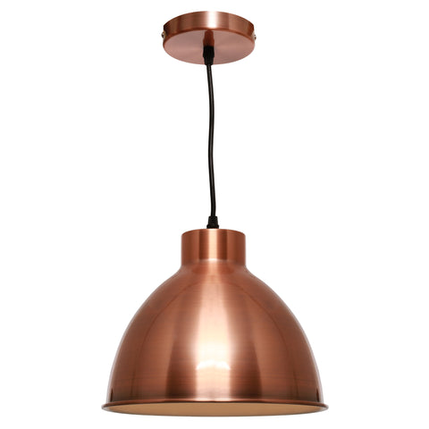 Dome 1lt Metal Shade Cord Pendant Light