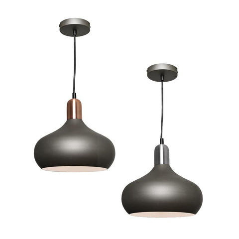 Sloan 1lt Metal Dome Pendant Light Charcoal Grey