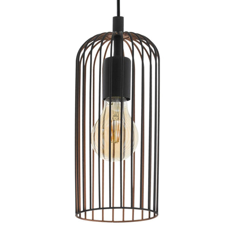 Roccamena Metal Cage Pendant Light Black/Copper