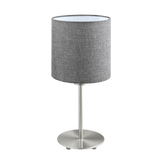 Pasteri Table Lamp with Drum Fabric Shade Brushed Chrome