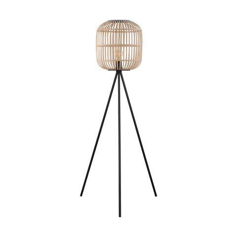 Bordesley Rattan Woven Wood Tripod Floor Lamp Black/Natural