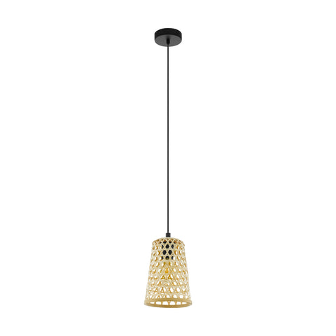 Claverdon Natural Wooden Woven Basket Rattan Pendant Light