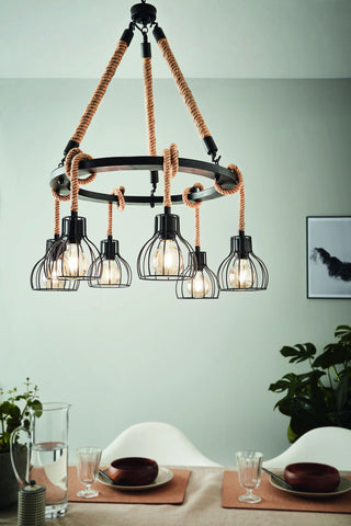 Rampside 6lt Metal Ring Rope Pendant Light with Cages