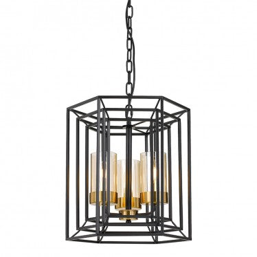 Lane 3lt Metal Pendant Light Black/Antique Brass/Amber Glass