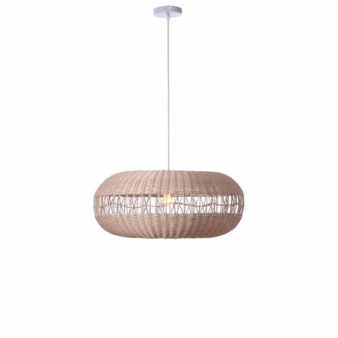 Andromeda Rattan Cane 1lt Cord Pendant Light Natural Wood