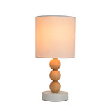 Cara Wooden Ball Table Lamp with Fabric Drum Shade