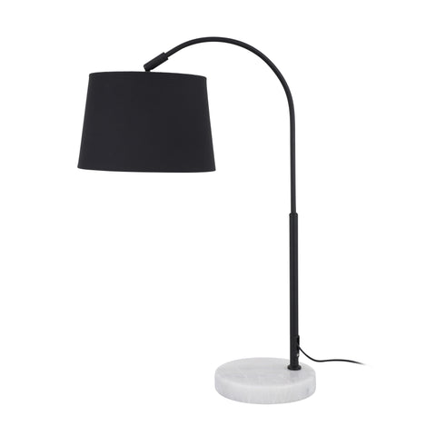 Hudson Adjustable Reading Table Lamp with Black Drum Fabric Shade and Marble Base