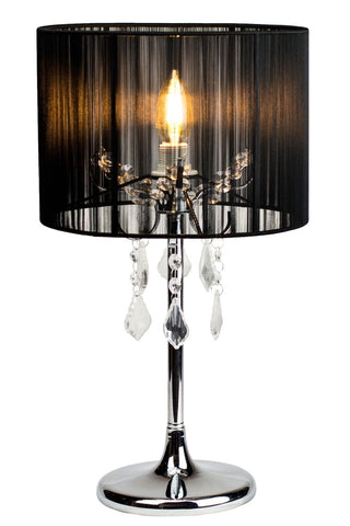 Paris Table Lamp with Drum String Shade and Crystals Chrome