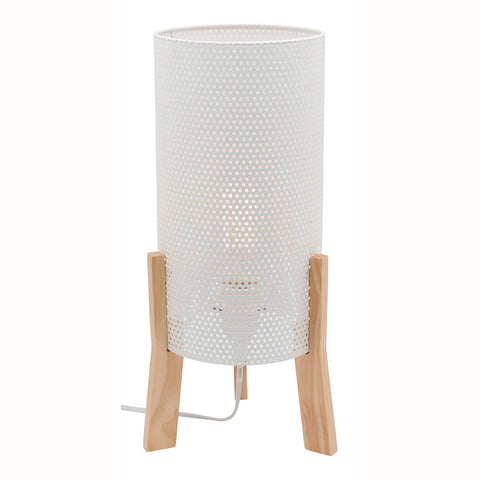Eddie Metal Mesh Table Lamp with Timber Legs White