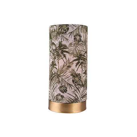 Bahama Tropical Palm Print Fabric Drum Table Lamp/Brushed Brass