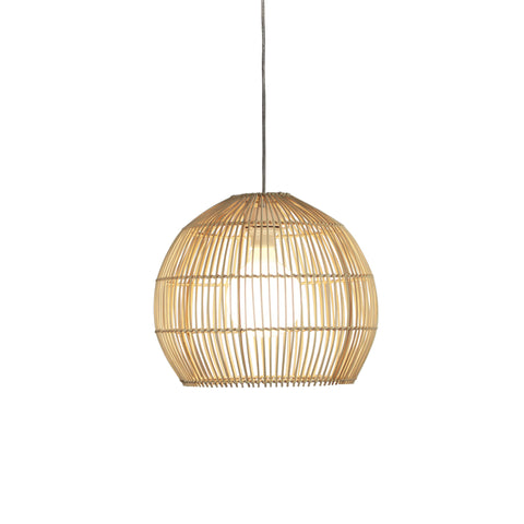 Batu Rattan Cane 1lt Cord Pendant Light Natural Wood