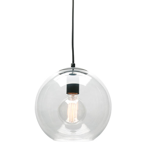 Orpheus Clear Glass Ball Pendant Light Matt Black