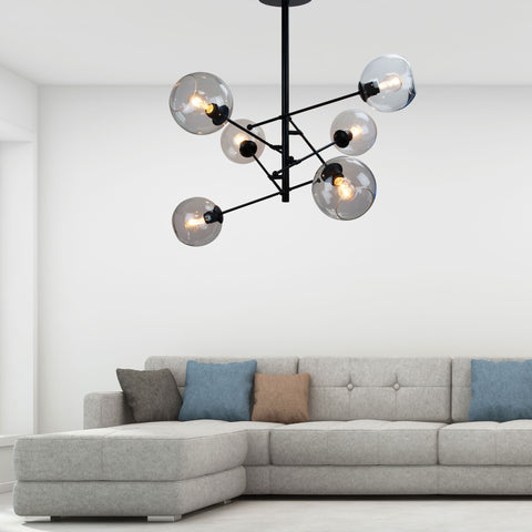 Ripley 6lt Glass Ball Satellite Rod Pendant Light