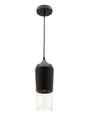 Slim 1lt Pendant Light Matt Black/Clear