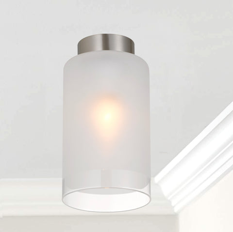 Fila DIY Frost Clear/Frost Glass Batten Fix Ceiling Light Nickel