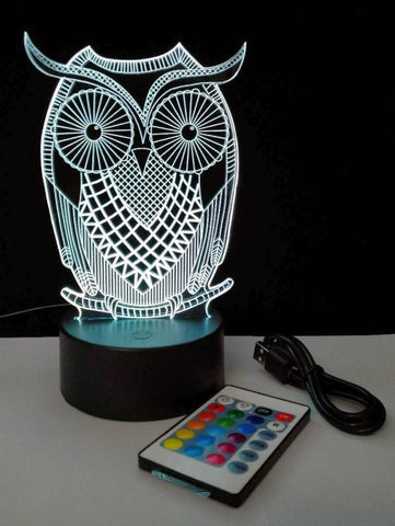 3D LED Lamp Night Light Owl/Butterfly/Soccer Ball/Dinosaur/Bear