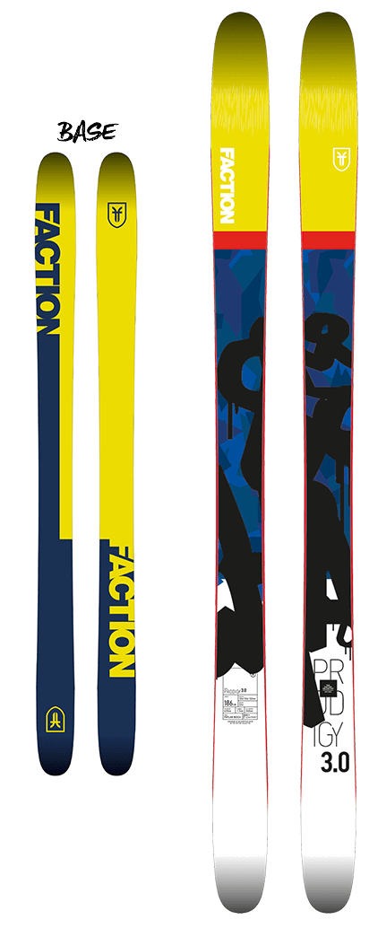 Front and back of Faction Prodigy 3.0 Winter 2018 Skis