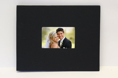 Black photo guest book - display photo as front cover