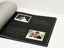 Photo album used as a photo guest book with Polaroids