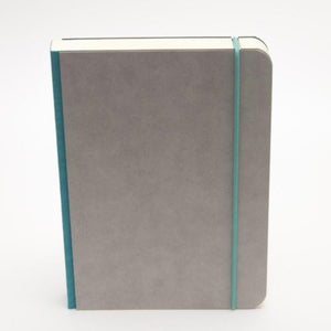 A5 minimalist notebook with closure strap in turqoise blue