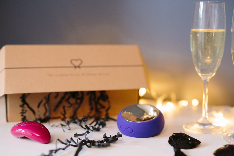LoveDrop Subscription Box with Lelo sex toys and champagne