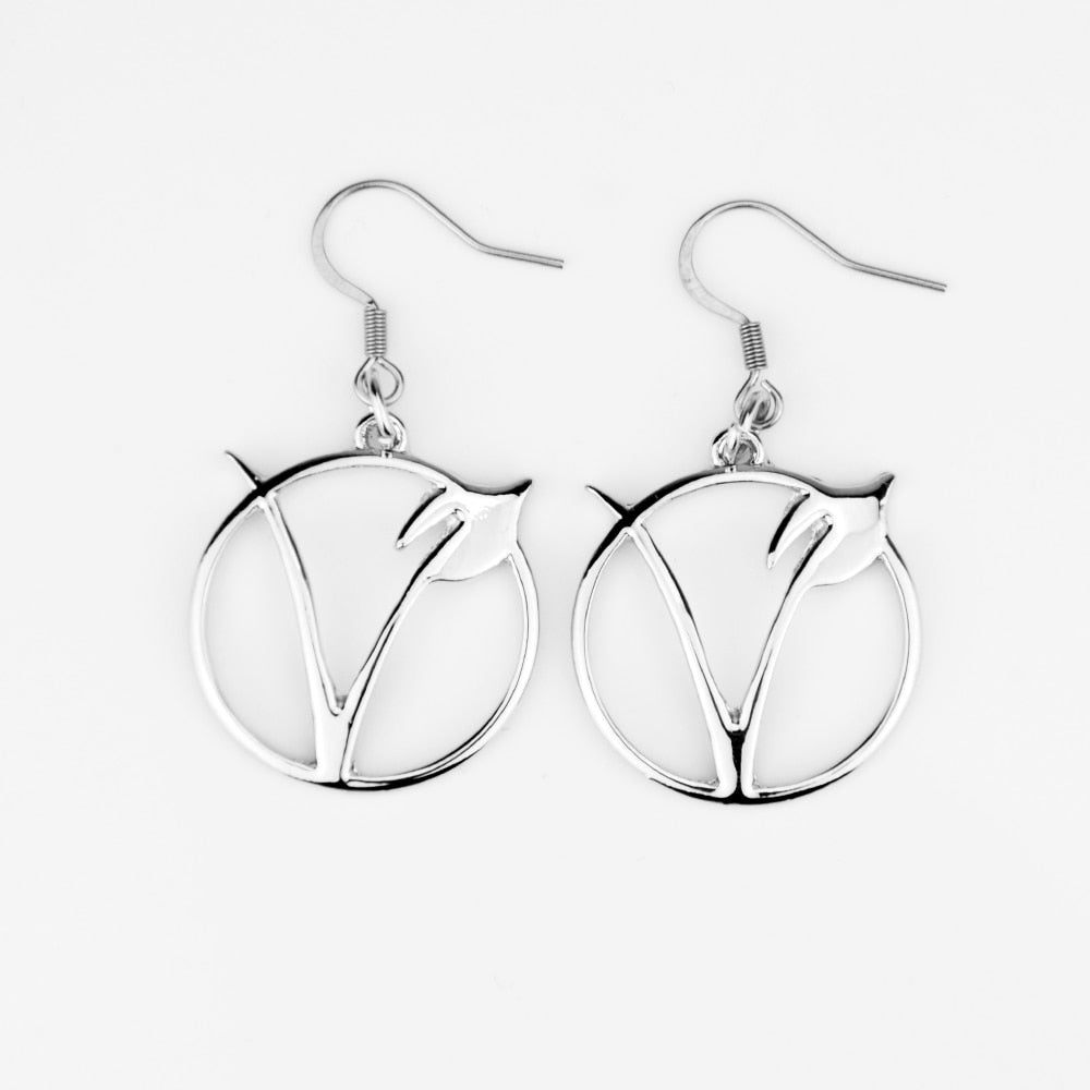 """V"" Symbol Silver Earrings"
