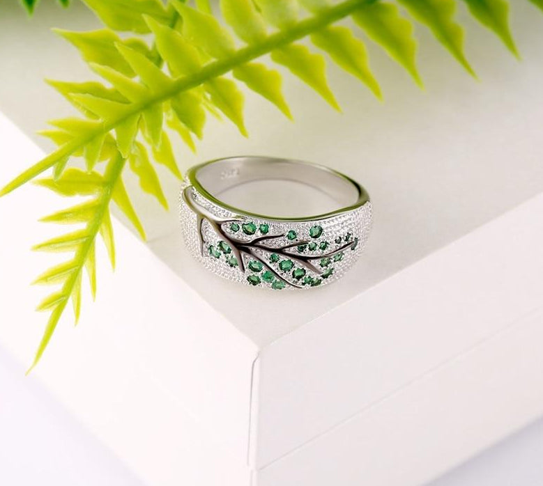 Crystal Leaves Ring