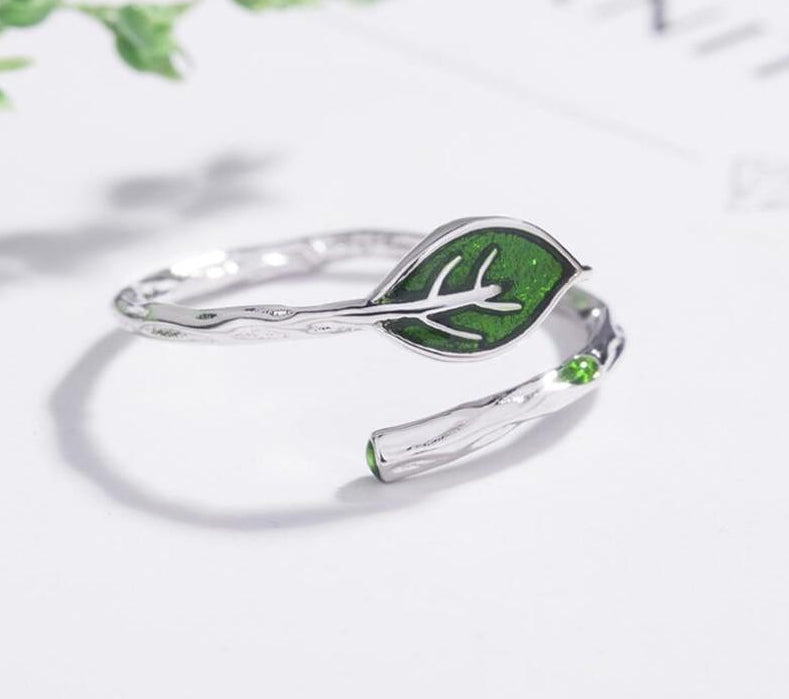 Green Leaf Silver Ring