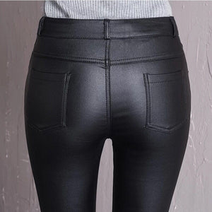 Leather Buttoned Leggings