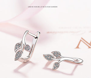 Crystal Leaves Sterling Silver Earrings