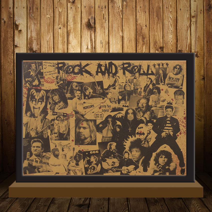 rock and roll music posters rock singer personalised kraft paper wall sticker HI