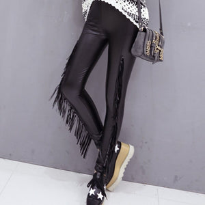 Tassel Leather Leggings