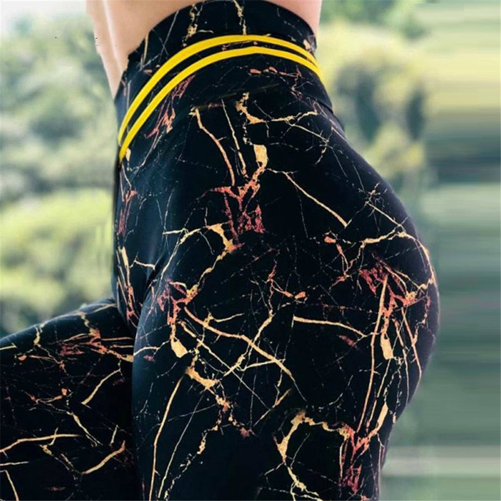 High Waist Marbled Leggings