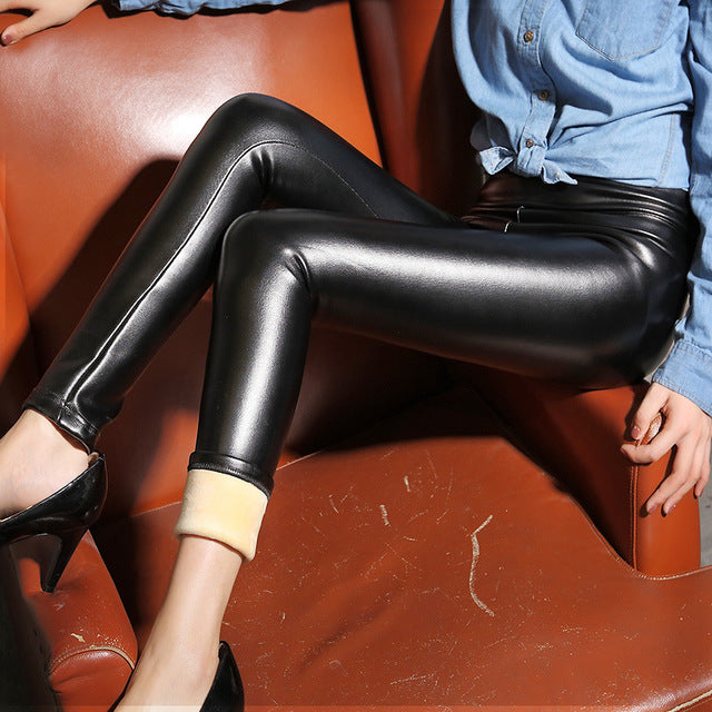 Thermal Leather Leggings