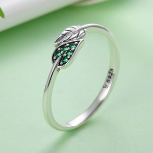 Sterling Silver Vegan Leaf Ring