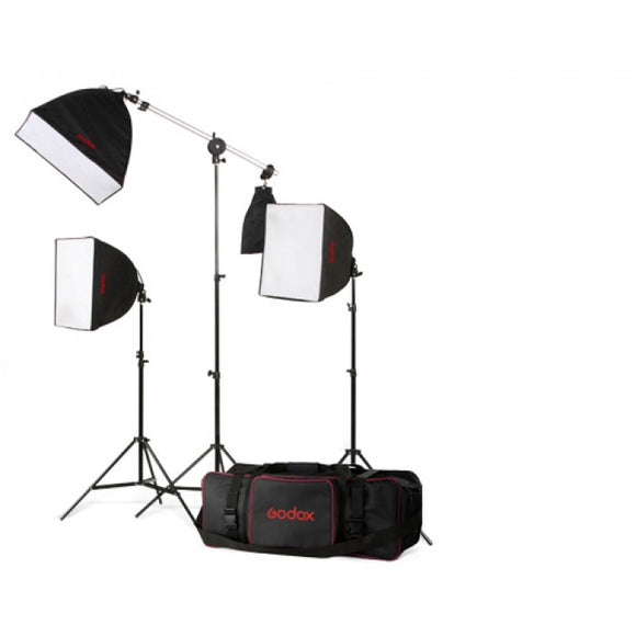 HIGHLIGHTS  It contains: Softbox (50cm*50cm)* 3 pcs  Light stand 302 * 2pcs Boom Stand LB-03 * 1pcs  Tricolor Lamp(85W) * 3pcs  Carrying bag CB05 * 1pcs