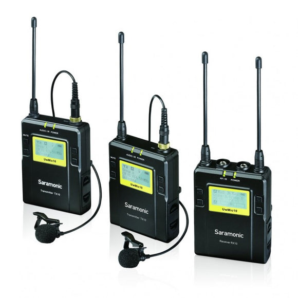 Saramonic UWMIC10 UHF Wireless Receiver With DUAL Body Pack Transmitter And Lavalier Mic Package