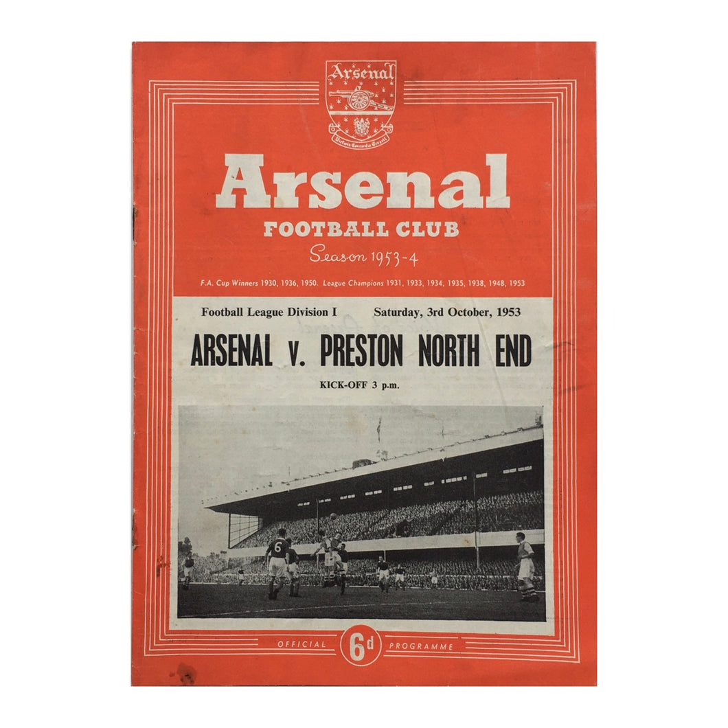 1953 Arsenal v Preston North End Match Programme
