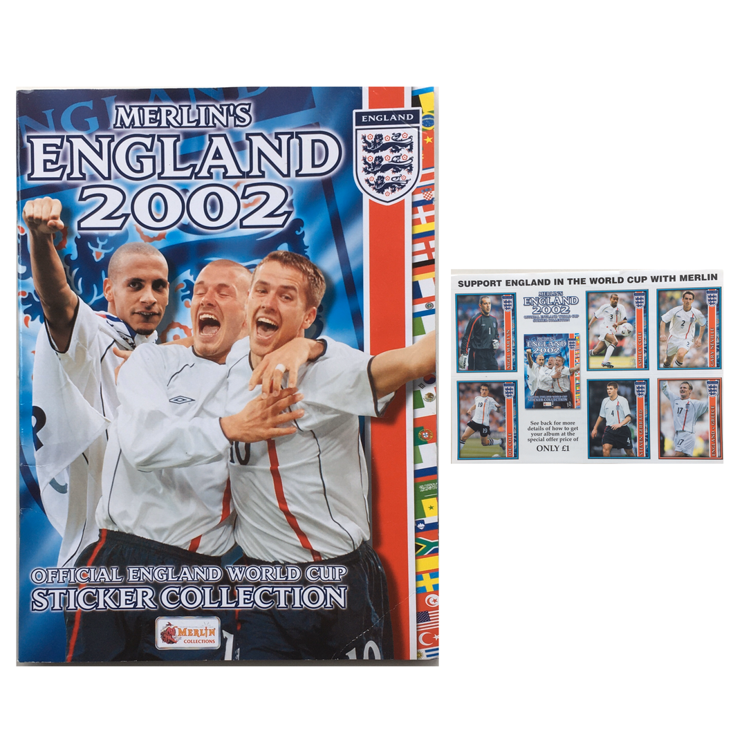 2002 Merlin Official England World Cup Sticker Album *Empty* + 6 Stickers