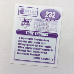 1997/98 Tony Thomas Everton Merlin Football Sticker