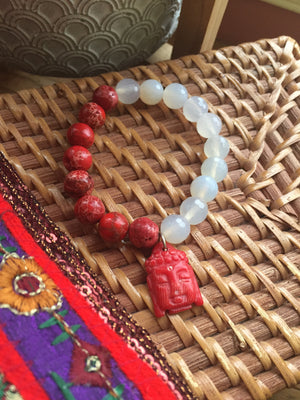Beaded Buddha Charm Bracelet with Crystal and Imperial Jasper Beads