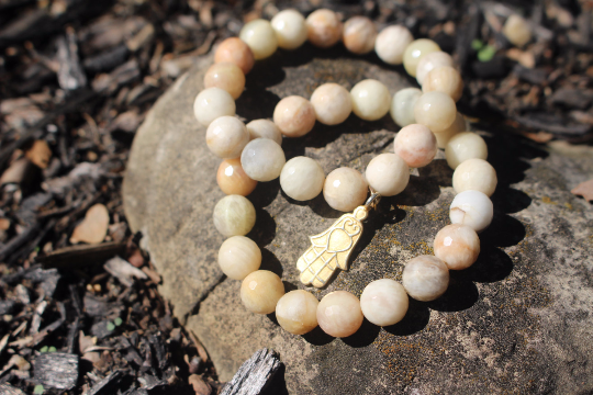 Beaded Sunstone Hamsa Charm Bracelet set. Boho Style Jewelry.