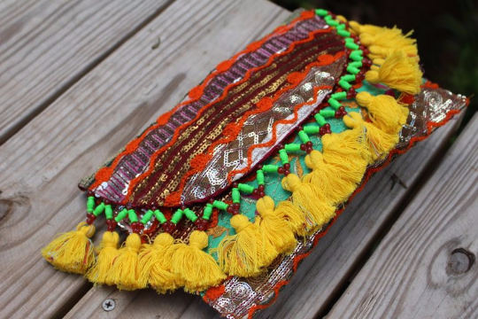 Yellow Tassel  Banjara Boho Clutch/ Cross body Festival bag/ Gypsy Clutch/Vintage bag