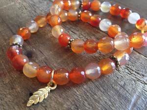 Beaded Carnelian  Charm Bracelet set with leaf charm.  Protection bracelet stack