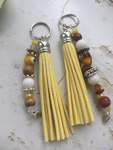 Boho Beaded Leather Tassel Keychain/ Key ring/ Purse charm accessory