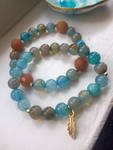Beaded Blue Agate Charm Bracelet set w/ Aventurine. Great Gift!