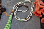Beaded Green Leather Tassel Necklace with Tiger Eye Beads. Boho Necklace, Boho Jewelry