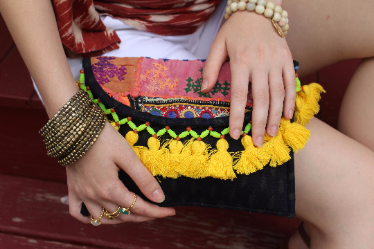 Banjara Boho Clutch/ Yellow Tassel Cross body Festival bag/ Gypsy Clutch/Vintage bag